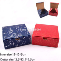 Wholesale Box Jewerly Paper - Wholesale-35PCS 12*12*5CM Cosmetic Jewerly Red Blue color Corrugated paper box with lid, handmade gift boxes,Essential oil  soap box