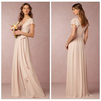 Wholesale Modest Junior Formal Dresses - 2016 Long Blush Pink Bridesmaid Dresses Chiffon V Neck Capped Sash A Line Junior Bridesmaids Gowns Cheap Modest Fashion Custom Made Formal