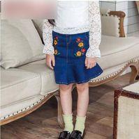 Wholesale Denim Flower Skirt - Kids princess denim skirts Big Girls embroidery flowers falbala hem skirts Children double pockets pleated skirts fashion Kids clothes C2314