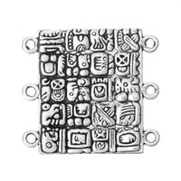 Hot 2x20PCs Hotsale connecteurs 6 trous Mayan élément de culture rectangle 3.5cm x3.2cm (plus de 100 $ gratuit Express)