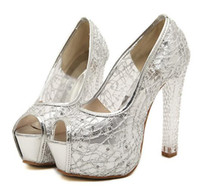 Wholesale Silver Glitter Chunky High Heels - Princess prom gown shoes crystal heels women wedding shoes silver lace shoes high-heel pumps 3 colors size 34 to 39