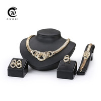 Wholesale Crystal Cross Costume Necklace - Women Party Gold Plated African Beads Jewelry Sets Crystal Cross Necklace Bangle Earrings Ring Wedding Dress Accessories Costume