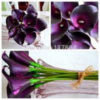 mor dekoratif parça toptan satış-Dekoratif çiçek 9 adet / grup ve 12 renk var Gerçek dokunmatik Koyu Mor Mini Calla Zambak Düğün Buket yapay çiçekler