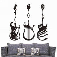 cartel de citas al por mayor-Envío gratis pvc kid room decor wall quotes Novedad Guitar Sticker Sticker Wall Poster Dormitorio Pegatinas de Pared