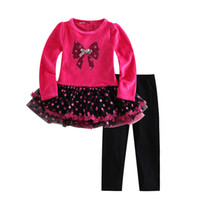 Wholesale red tutu leggings online - 2016 Autumn Fashion Baby Clothes Rose TUTU Dress Black Leggings Suit p l