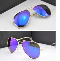 Wholesale Protect Pc Free - FREE SHIP Flash Mirror Sunglasses Brand Summer Sunglasses Men Women UV Protect Designer BanDtun Authentic Sunglasses Original Leather Box