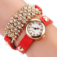 Wholesale Wholesale Leather Bling Belts - New Arrive Fashion Casual Leather Strap Bracelet Wristwatch bling rhinestone Women Dress Watches Gift Crystal Relogio Watch XR120