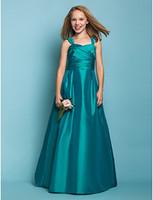 Wholesale Cheap Little Girls Bridesmaid Dresses - Satin Junior Bridesmaid Dresses Turquoise A-line Long Floor Length Pleats Straps 2015 Little Girls Dress Gown For Wedding Party Cheap Price