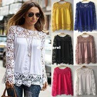 Wholesale Embroidery Floral Lace Crochet Blouses - ResuliResuli Remarkable 1PC Women Sheer Sleeve Embroidery Lace Crochet Tee Chiffon Shirt Blouse Cool blusas new