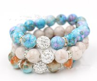 Wholesale steel ball stretching - Free Shipping Bead Jewelry, Mix Colors 12mm Shamballa Disco Ball Stretch Bead Bracelet 12mm Acrylic Bead Flex Bracelet for Women Gifts-J865