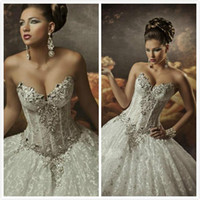 Wholesale Dramatic Wedding Dresses - 2016 Royal Dramatic Sexy Wedding Dresses Sweetheart Ball Lace Bling Crystals Beaded See Through Corset Wedding Dress Beach Bridal Gowns