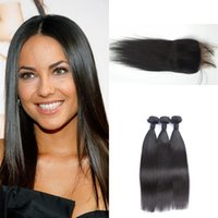 Wholesale brazilian straight hair weave sale resale online - Top quality bundle brazilian straight hair weaves bundles with lace frontal closure x4 free middle part natural black G EASY for sale