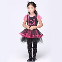 Wholesale Girls Holidays Gloves - Children's Cosplay Halloween dress Girls costumes Cosplay dress+headwear+ gloves 3pcs Sets The girl Dance clothing performances