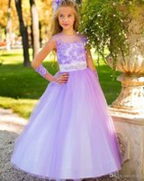 Wholesale Pageant Gloves Girls - New Lovely Kids Pageant Dresses Vestidos Comunion Dress Appliques Toddler A Line Long Flower Girl Dresse with Gloves