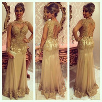 Wholesale Evening Glamorous - Real Image Formal Dresses Evening with Sexy Sheer Shiny Beaded Lace Applique High Neck Glamorous Open Back Long Mermaid Prom Dresses 2015