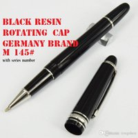 Wholesale Ball Point Pen Ink - Luxury Masterpiece Classique MST- 163   145 black resin ball point pen or Rollerball pen AAAAA quality promotional supply