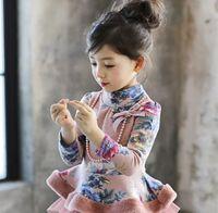 Wholesale Long Dresses Korean Winter - Korean Winter Girl Long Sleeve T-shirt Floral Print Dress Shirt with Necklace Kids Thicken Girls Shirts Children Tees Pink Grey K5810