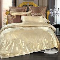 Wholesale Bedding Good Comforter Set - Golden Jacquard Bedding Sets Satin Bed Set 4Pcs Duvet Cover Bedclothes Good quality polyester Bed Sheet Queen Size pillowcase