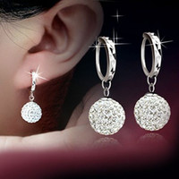 Wholesale Sterling Silver Ball Studs - 5pair 925 Sterling Silver Shamballa Ball Full Crystal Disco Ball Dangle Drop Earring