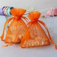 "Wholesale Sheer Pouches Wholesale - 50pcs bag Orange color 3""x3.5"" 7x9cm Strong Sheer Organza Pouch Wedding Jewelry Gift Bags PUH-09 PUH-09"
