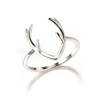 Wholesale Solid 925 Rings - Fashion Women Ring Solid 925 Sterling Silver Deer Bijoux Silver Antler Ring In Lucky Sonny Store