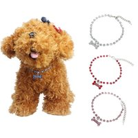 Wholesale Large Pink Rhinestone - 2015 Dog Puppy Necklace Collar With Crystal Pink Blue White Red Bone Rhinestones Pet Collar,Dog Necklace,Pet Jewelry S M L [FS01019*6]