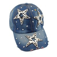All'ingrosso-2015 Hot Star modello regolabile cappello di moda Jeans Accessori Strass Union Jack donne dell'annata Baseball Caps H027