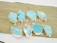 Wholesale Blue Druzy Pendant Silver - Wholesale-5pcs Silver Plated Nature Druzy Quartz Connectors in Blue color, Fine Drusy Gem Stone Findings Connectors, Druzy Pendant