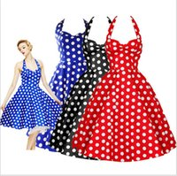 "Wholesale women s princess ball gowns - ""Women Dress Summer New Sweet Polka Dots Sexy Halter Slim Dresses Elegant Charm Party Vintage Backless Casual Princess High Quality Dresse"