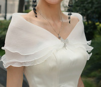 Wholesale White Organza Wedding Capes - Cheap Sun Protection Bridal Wraps Cystal 3 Layers Wedding Shawl Wrap Cape Spring Summer Bridal Shrug Bolero Jacket Free Shipping