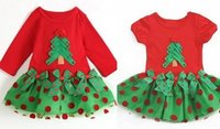Wholesale Christmas Tree Tutu Dress - girl red christmas dress tutu merry christmas dress kids girls dresses children cotton tutu baby christmas wear christmas trees short sleeve