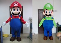 Wholesale Mario Luigi Mascot Costumes - Adult luigi and mario mascot costume mario costume for sale