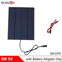 Wholesale Solar Battery Charger Dc - ELEGEEK 2Pcs Lot 5W 18V Mini Encapsulated Solar Cell Panel DC Output with Alligator Clip Solar Cell for Solar System and Battery Charger