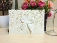 Wholesale Gold Ribbon Party Favors - 2016 Printing Laser Cutting New Wedding Favors Wholesale 50pcs lot Hollow Wedding Party Printable Invitation Cards Ribbon