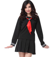 Wholesale School Sailor Outfits - Wholesale-Japanese Navy Sailor Suit Long Sleeve School Girl Uniforms Dress Outfits Sweet Kawaii Lolita Dresses
