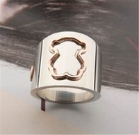 Wholesale Ring Teddy - Newly Design Silver Bear Band Rings Customized silver Teddy Bear Band Rings Personalized Simple Band Rings TSRS007-8