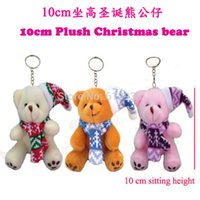 Wholesale Christmas Mixed Teddy Bear - Sale 12pcs Lot H=10cm Merry Christmas Teddy Bear Plush Sitting With Hat Scarf Pendants Craft Doll Student Stripes,3color Mixed