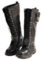 Wholesale Skull Knee Boots - Men's Shoes Knee-High Boots,Punk Metal Skull Chains Buckles PU Leather Winter Casual Cowboy Work Combat Amy Boots,US Size 6.5-10
