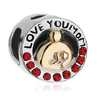 Wholesale Pandora I Love Charm - Factory Retailer and Wholesale Gold Plated I Love You Mom European Charm Beads For Pandora DIY Bracelet