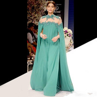 Wholesale indian chiffon evening gowns - 2016 Indian Green Formal Celebrity Dresses High Collar Long Sleeves Chiffon Floor Length Prom Party Dress Ruffles Long Evening Gowns