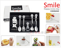 Wholesale small steel spoon - Wholesale - Smiling face high quality tableware Practical small gifts Business gifts wedding gift Sets 6pcs lot free shipping