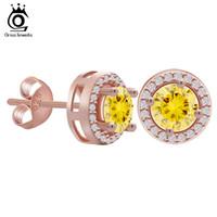 ingrosso orecchini a vite diamanti gialli-Orecchino ORSA in oro rosa con 0,75 ct di diamante giallo CZ Classico 4 orecchini di artiglio per le donne 2 colori disponibili OE104-R
