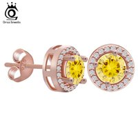 Wholesale Ct Earrings - ORSA Rose Gold Earring Stud with 0.75 ct Yellow CZ Diamond Classical 4 Claw Earrings For Women 2 Colors Available OE104-R