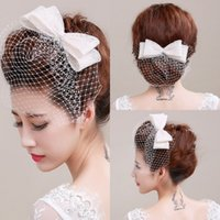 Wholesale Tulle Bow Veil - Ivory Bird Cage Face Veil With Bow Wedding Veil Headwear Netting Face Short Feather Fascinator Hearpiece with Tulle Cheap Veil