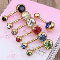 Wholesale Double Gem Belly - Anodized gold double gem body jewelry mixed 10 colors gem belly ring 100pcs lot free shipping