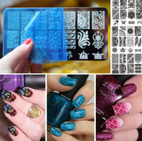 Wholesale Steel Art Stamp - Black Flower Lace Nail Stamping Plates Stainless Steel Nail Art Stamp Template Manicure Nail Tools