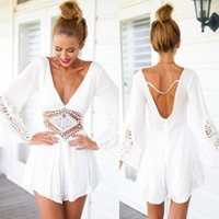 Wholesale Ladies Lace Rompers - New 2015 Summer style Mono Women V-Neck Lace Crochet Beach Playsuit White Black Lace Ladies Loose rompers womens jumpsuit