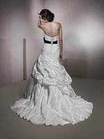 UK ivory ella wedding dress - ella rosa wedding dresses Lace-up Strapless Court Train A Line Satin Hand Made Flowers Pleats Crystal No Risk Shopping High Quality