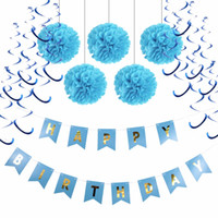 7pcs / lot Boy Baby Birthday Party Decoration Blue Party Supplies 20cm Pompoms + Buon compleanno Flag Banner + Hanging Swirl Home Decor