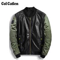 Wholesale Jacket Leather Man Pilot - Wholesale- High Quality Leather Jacket Men New Brand Autumn Designer Fashion Stand Collar PU Motocycle Jackets Green Flying Pilot Coats 3XL